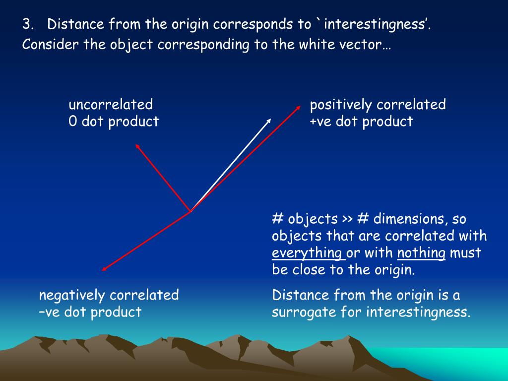 3.   Distance from the origin corresponds to `interestingness'.