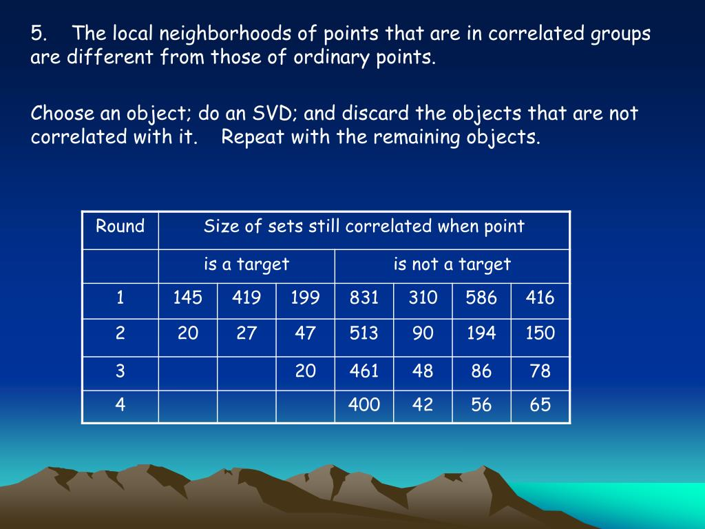 5.    The local neighborhoods of points that are in correlated groups are different from those of ordinary points.