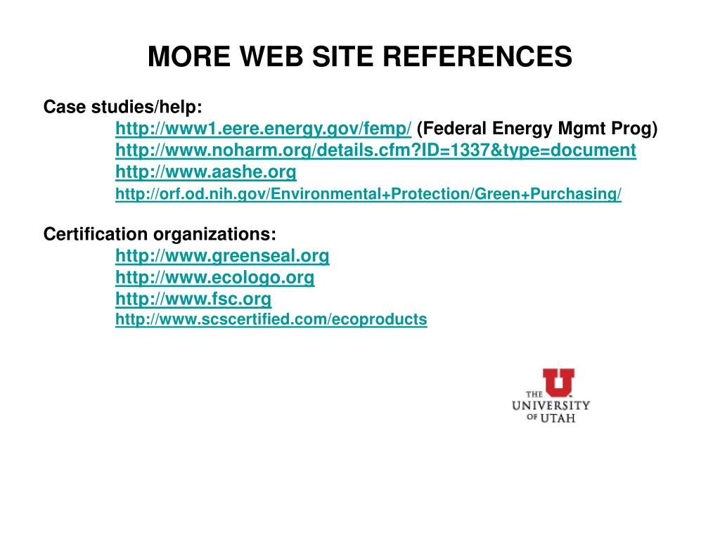 MORE WEB SITE REFERENCES