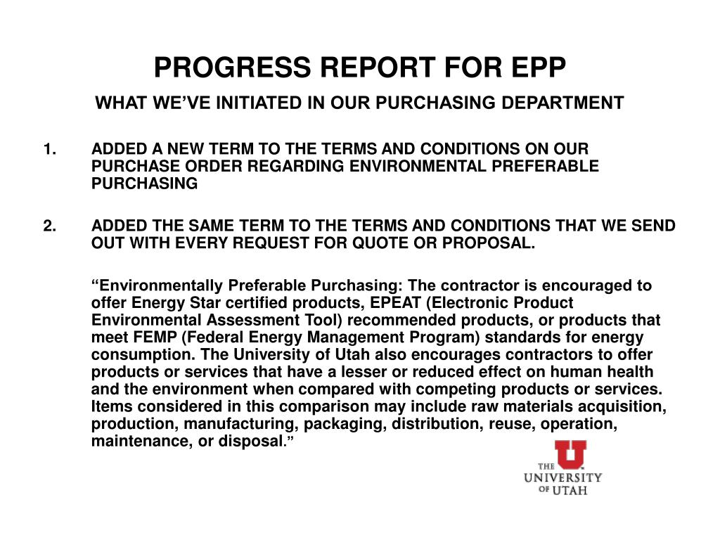 PROGRESS REPORT FOR EPP