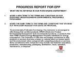 progress report for epp