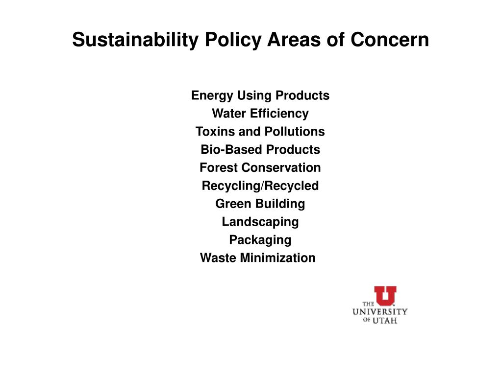 Sustainability Policy Areas of Concern
