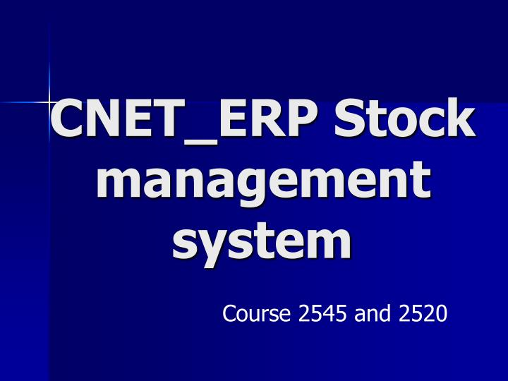 cnet erp stock management system n.