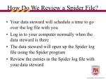 how do we review a spider file