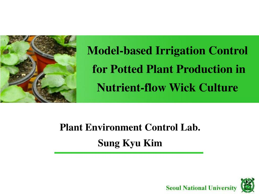 model based irrigation control for potted plant production in nutrient flow wick culture l.