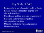 key goals of b f