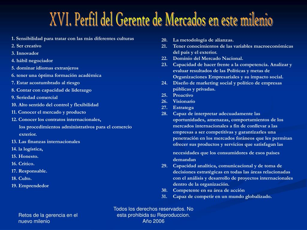 XVI. Perfil del Gerente de Mercados en este milenio