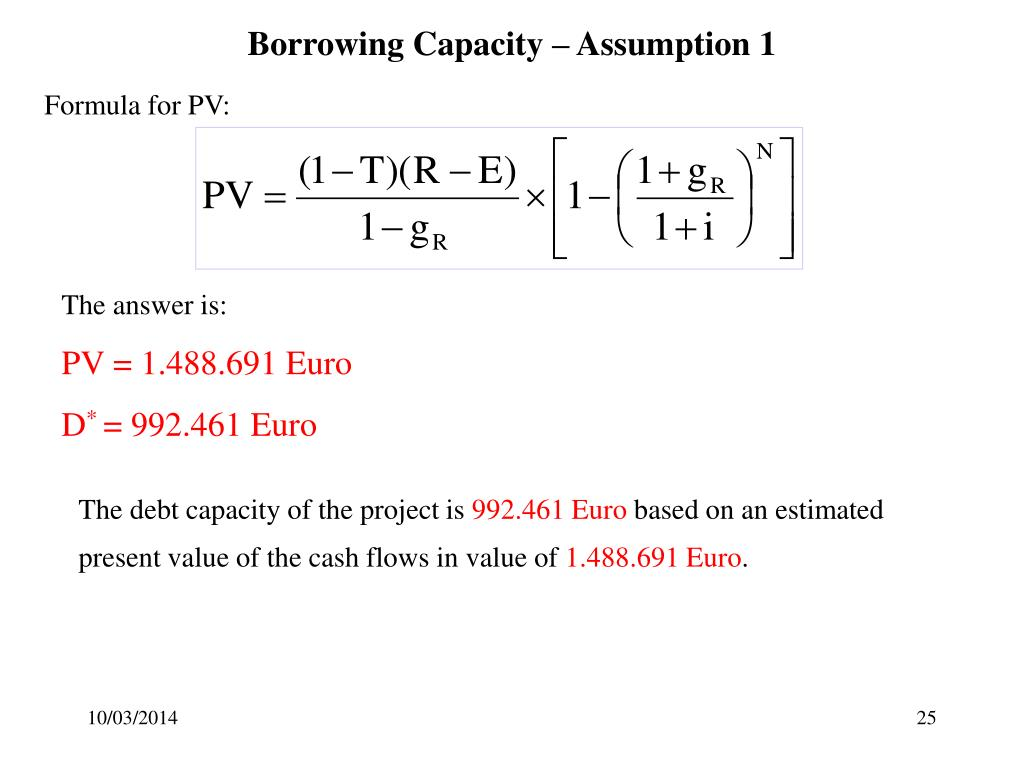 Borrowing Capacity – Assumption 1