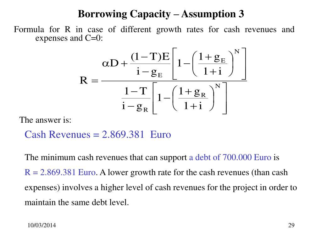 Borrowing Capacity – Assumption 3