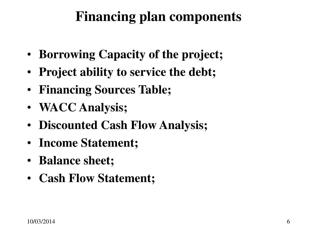 Financing plan components