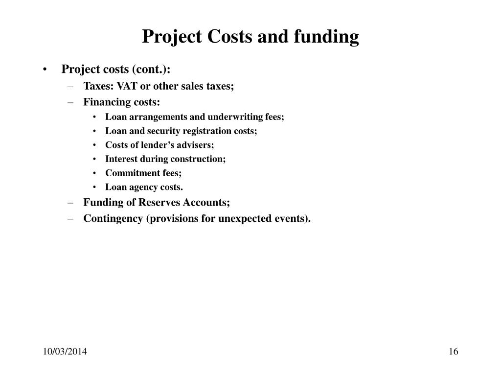Project Costs and funding