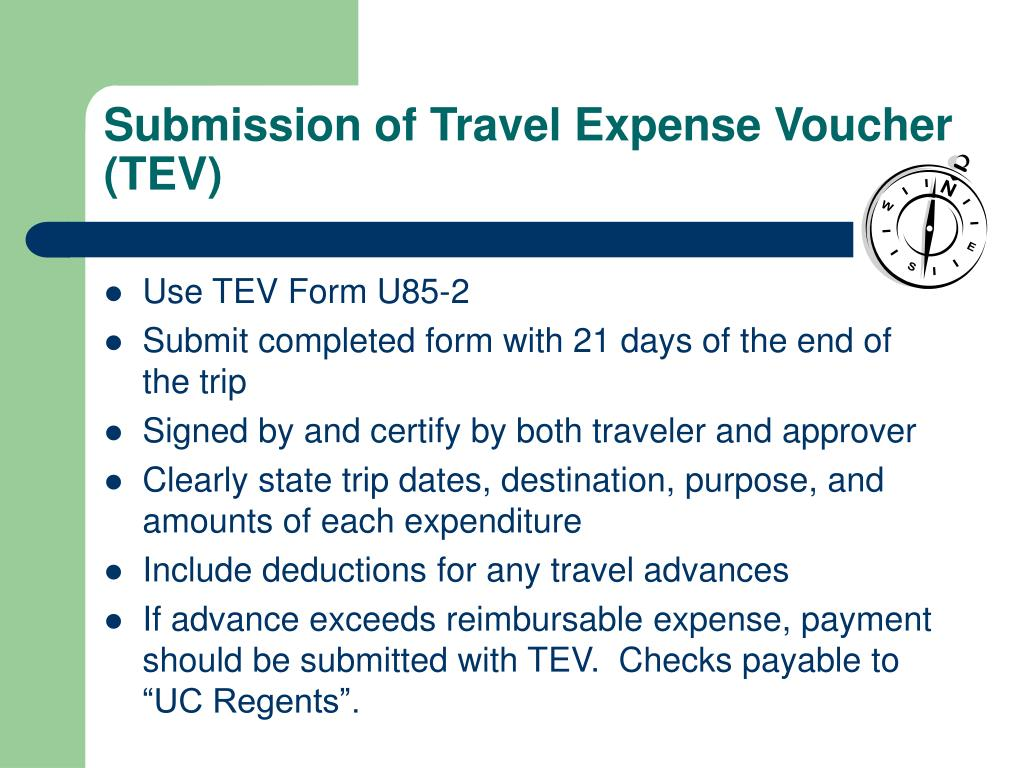 Submission of Travel Expense Voucher (TEV)