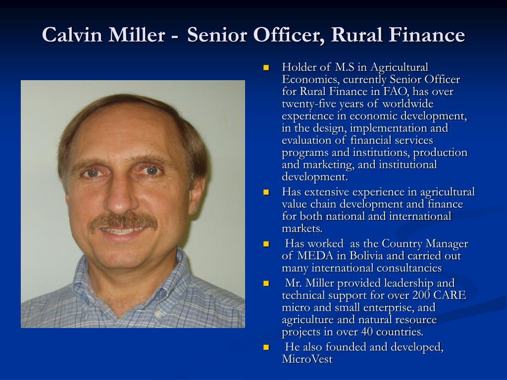 calvin miller senior officer rural finance l.