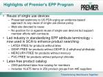 highlights of premier s epp program14
