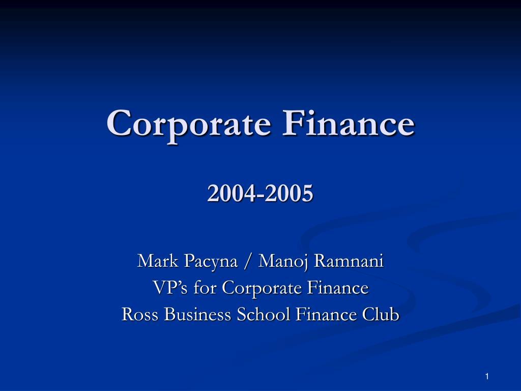 corporate finance 2004 2005 l.