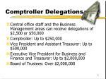 comptroller delegations