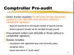 comptroller pre audit