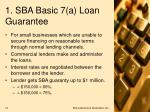 1 sba basic 7 a loan guarantee