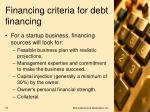 financing criteria for debt financing19