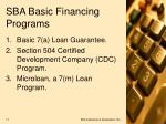 sba basic financing programs