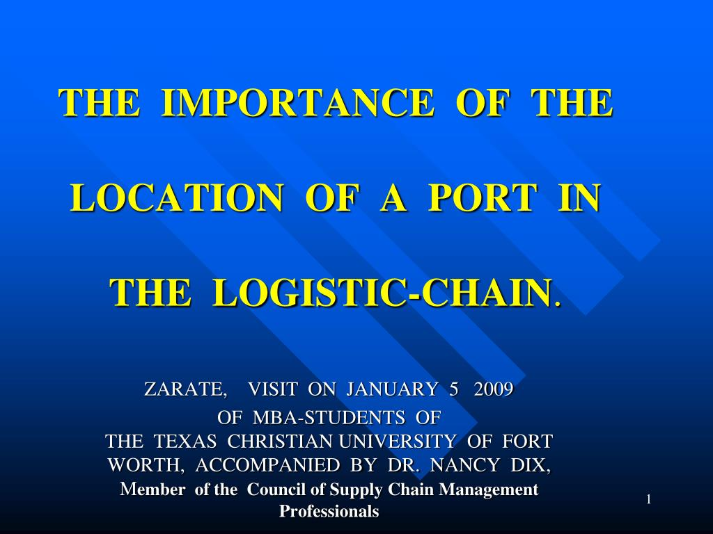 the importance of the location of a port in the logistic chain l.