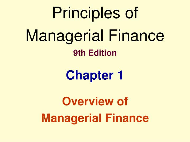 principles of managerial finance 9th edition n.