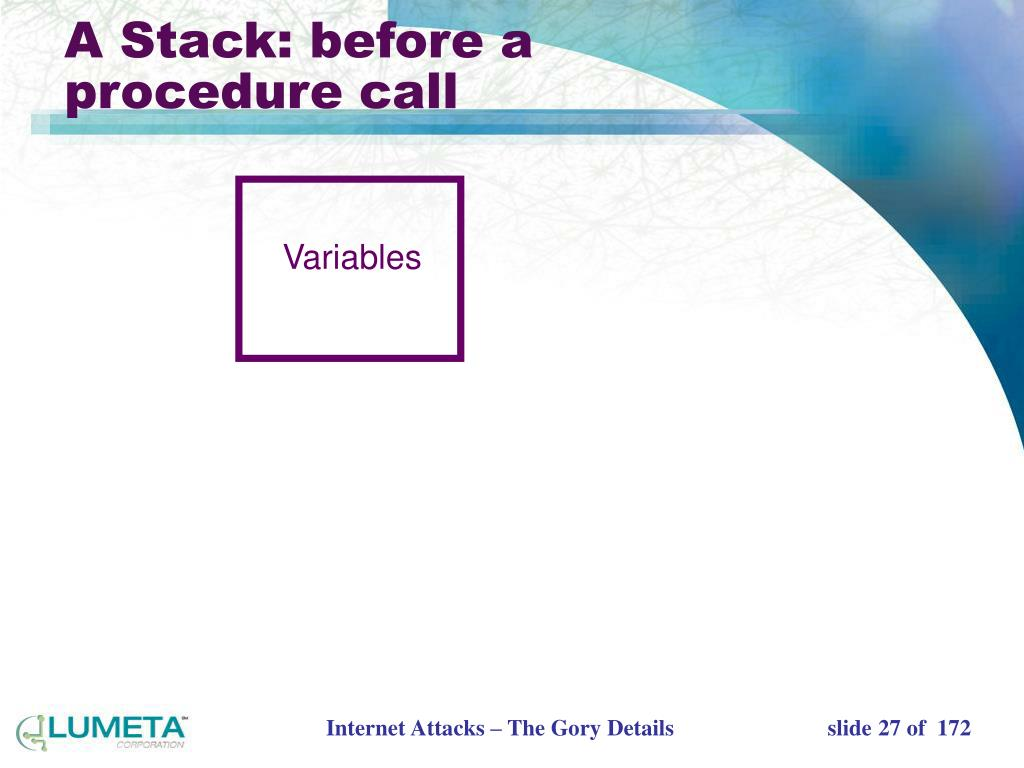 A Stack: before a procedure call