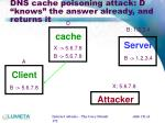 dns cache poisoning attack d knows the answer already and returns it