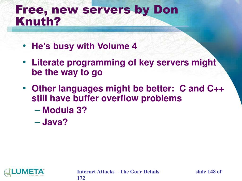 Free, new servers by Don Knuth?