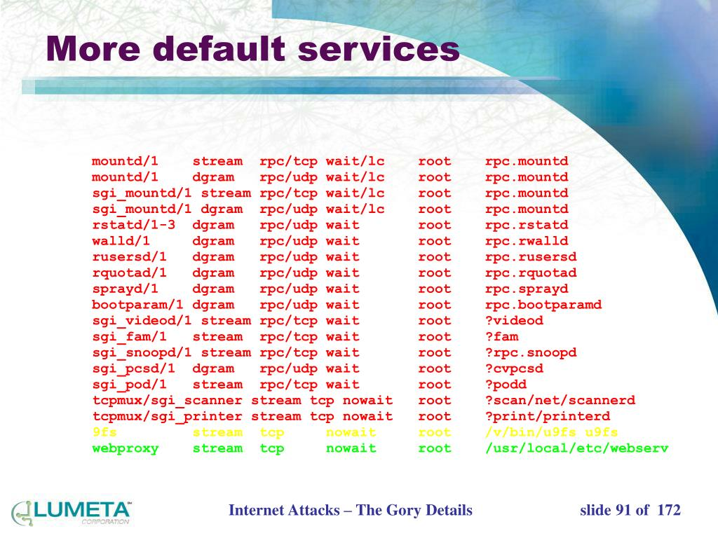 More default services
