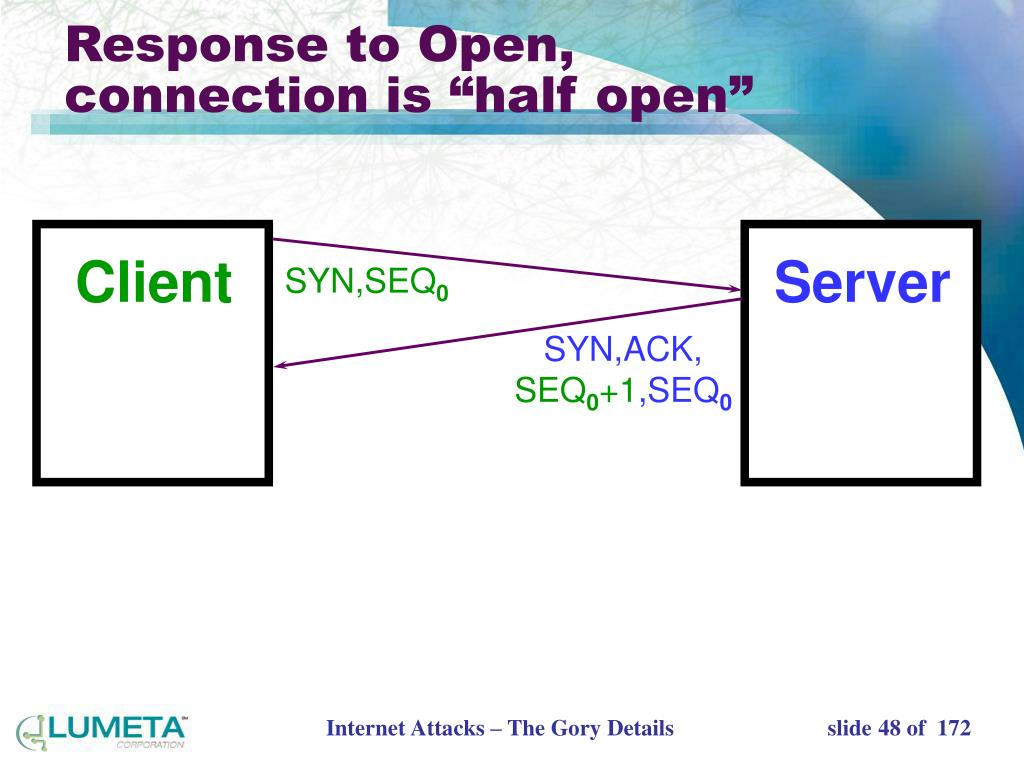 "Response to Open, connection is ""half open"""