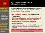 2 corporate finance you mean business