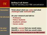 boiling it all down tips for deciding your fbe concentration