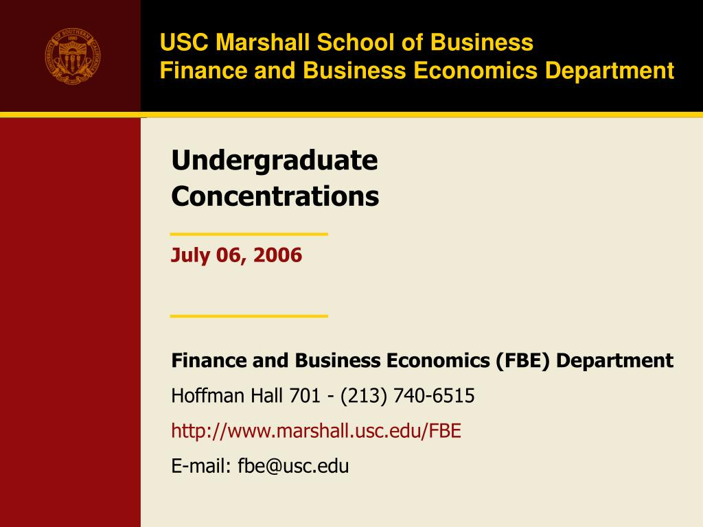 usc marshall school of business finance and business economics department l.