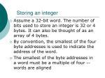 storing an integer