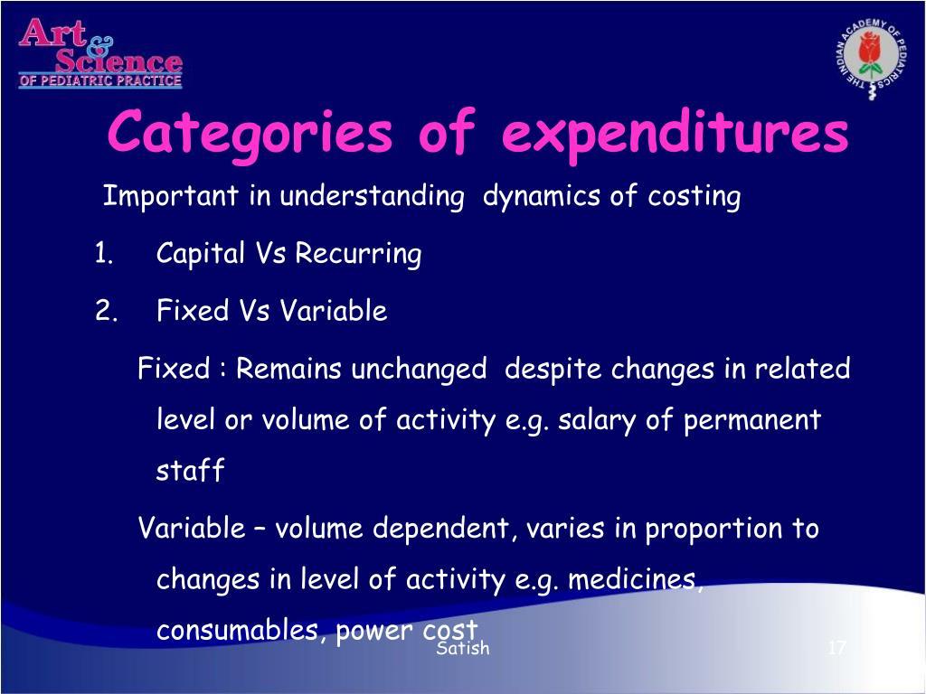 Categories of expenditures