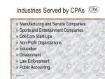industries served by cpas