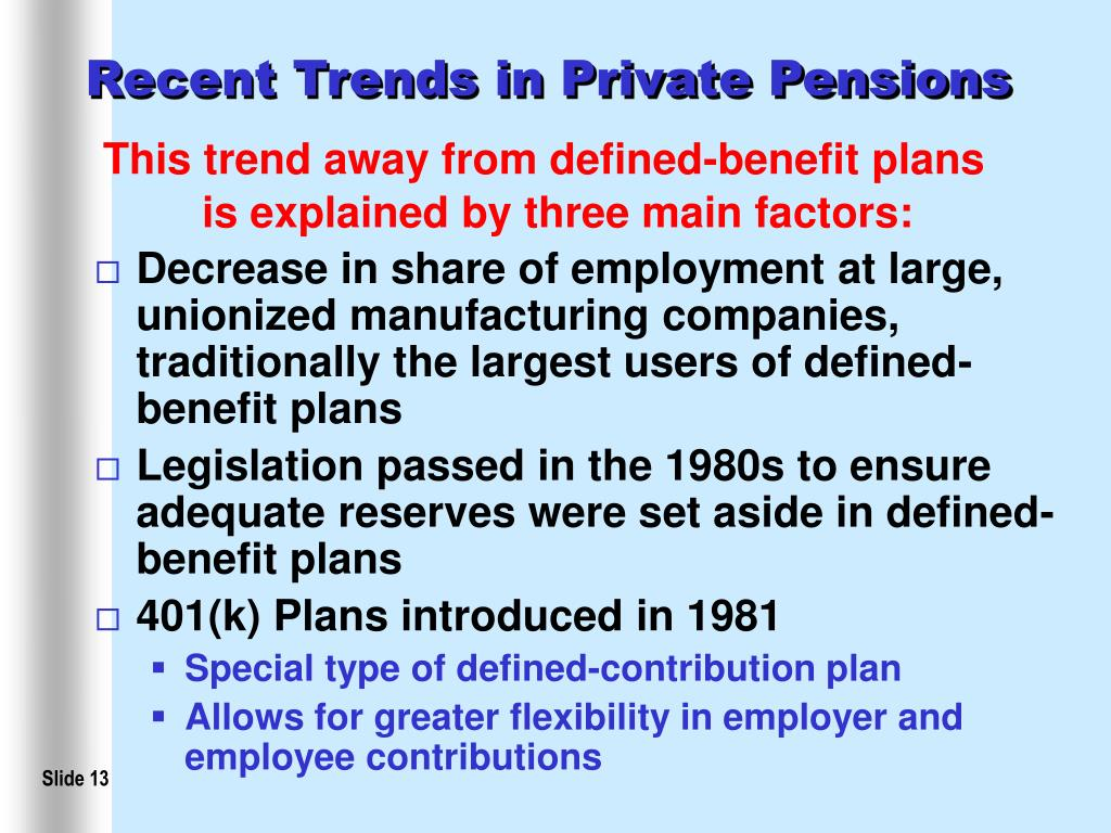 Recent Trends in Private Pensions