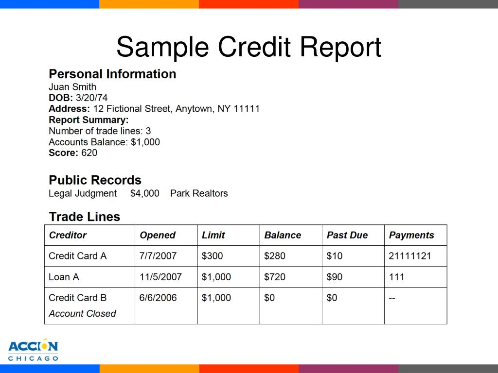 Sample Credit Report
