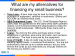 what are my alternatives for financing my small business