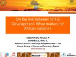 on the link between sti development what matters for african nations