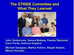 the stride committee and what they learned