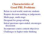 characteristics of good pbl problems