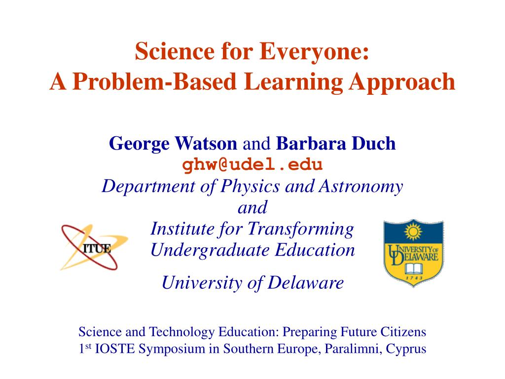 science for everyone a problem based learning approach l.