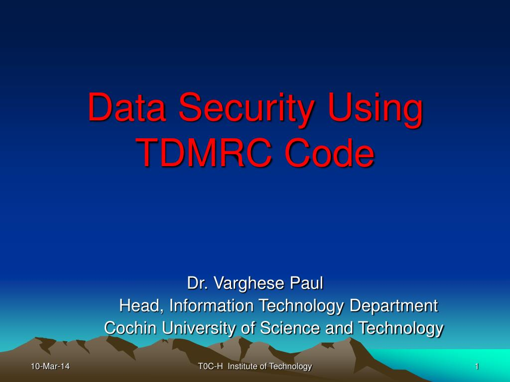 data security using tdmrc code l.