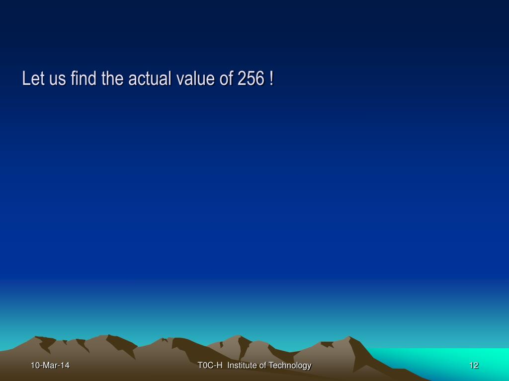 Let us find the actual value of 256 !