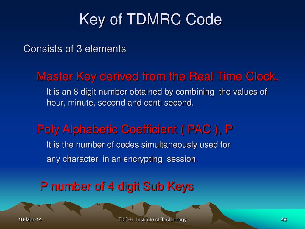 Key of TDMRC Code
