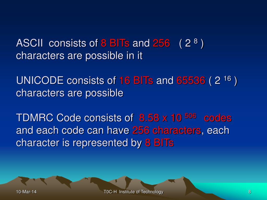 ASCII  consists of