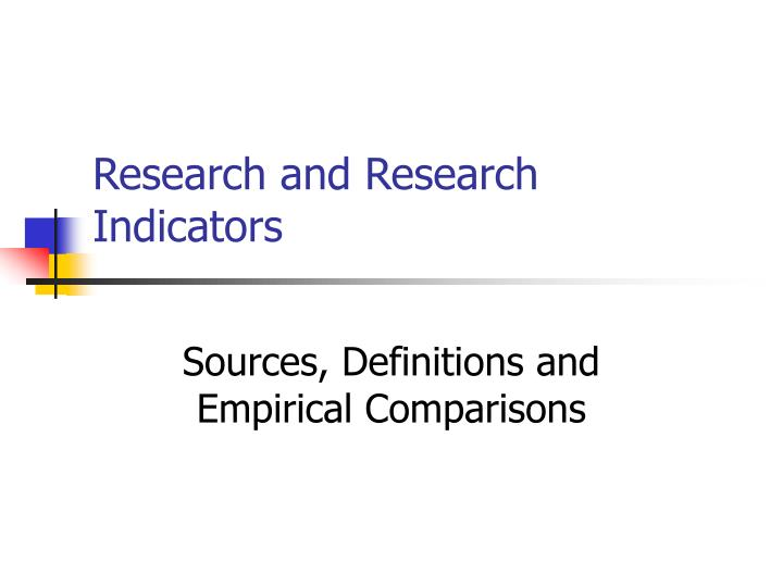 research and research indicators n.
