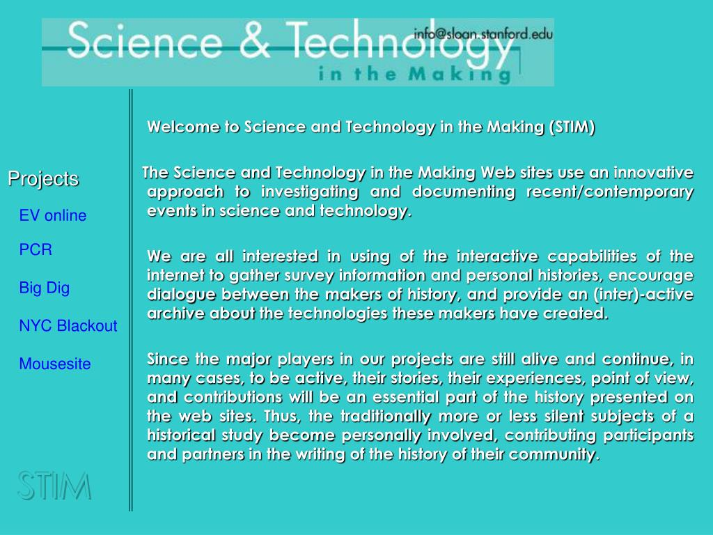 Welcome to Science and Technology in the Making (STIM)